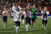 USA midfielder (11) Freddy Adu leads US players in saluting the fans after defeating Uruguay . The United States (USA) defeated Uruguay (URU) 2-1 in overtime during a FIFA U-20 World Cup round of 16 match at the National Soccer Stadium at Exhibition Place, Toronto, Ontario, Canada, on July 11, 2007.