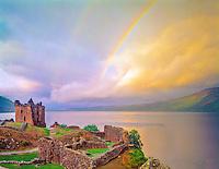 Rainbow over Urquhart Castle, Urquhart Castle Historical Park, Scotland, United Kingdom, Loch Ness, in the Great Glen, built in the 13th Century, September