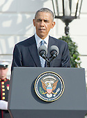 United States President Barack Obama makes remarks during an Arrival Ceremony opening the Official Visit of Prime Minister Justin Trudeau of Canada, and Mrs. Sophie Gr&eacute;goire Trudeau on the South Lawn of the White House in Washington, DC on Thursday, March 10, 2016. <br /> Credit: Ron Sachs / CNP