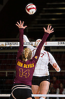 STANFORD, CA - October 15, 2016: Merete Lutz at Maples Pavilion. The Cardinal defeated the Arizona State Sun Devils 3-1.