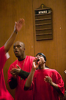 New York, USA - Hip-Hop Choir members perform during mass at the Greater Hood Memorial AME Zion Church, home of the Hip-Hop Church, in Harlem, New York, USA, 17 March 2005. Photo Credit: David Brabyn.