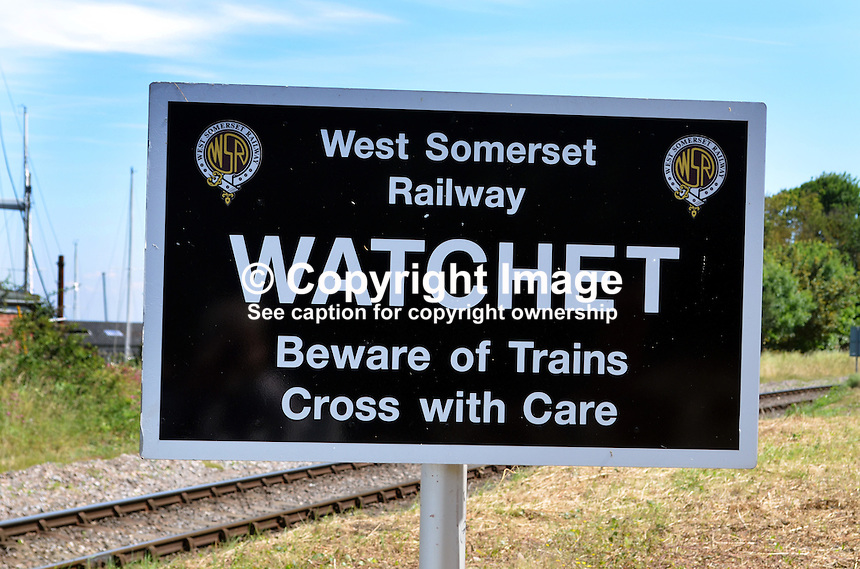 Pedestrian warning notice, Watchet Station, West Somerset Railway, UK, July, 2014, 201407093464<br /> <br /> Copyright Image from Victor Patterson, 54 Dorchester Park, Belfast, UK, BT9 6RJ<br /> <br /> Tel: +44 28 9066 1296<br /> Mob: +44 7802 353836<br /> Voicemail +44 20 8816 7153<br /> w: victorpatterson.com<br /> <br /> e1: victorpatterson@me.com<br /> e2: victorpatterson@gmail.com<br /> <br /> <br /> IMPORTANT: Please see my Terms and Conditions of Use at www.victorpatterson.com