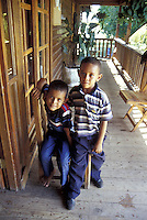 Two Honduran boys at the visitors' center in the Cuero y Salado Wildlife Refuge near la Ceiba, Honduras.