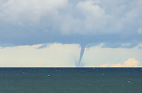 A rare waterspout on Lake Superior during a mid-October storm. Marquette, MI