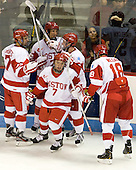 Evan Rodrigues (BU - 17), Ryan Ruikka (BU - 2), Cason Hohmann (BU - 7), Matt Grzelcyk (BU - 5), Wade Megan (BU - 18) - The Boston University Terriers defeated the visiting Providence College Friars 4-2 (EN) on Saturday, December 13, 2012, at Agganis Arena in Boston, Massachusetts.