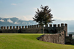 The castle wall of Castelgrande in Bellinzona, Switzerland a town with three castles