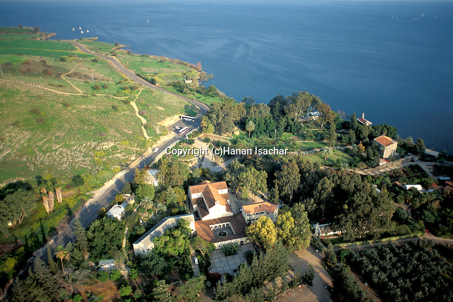 Israel, Sea of Galilee, the Church of the Multiplication of the Loaves and Fishes in Tabgha, an aerial view