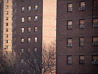 The massive NYCHA Elliot Houses complex of apartments in Chelsea in New York is seen on Wednesday, February 6, 2013. The city has announced that it will be building affordable housing on underused land controlled by the housing authority.  (© Richard B. Levine)
