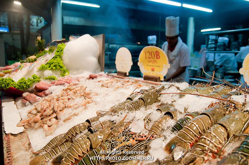 Seafood in open kitchen restaurant, Phuket, Thailand