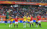 Goalkeeper Andreia (l) of team Brazil during the FIFA Women's World Cup at the FIFA Stadium in Wolfsburg, Germany on July 3rd, 2011.