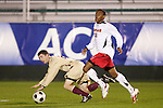 14 November 2008: Maryland's Rodney Wallace (right). The University of Maryland defeated Boston College 1-0 at WakeMed Stadium at WakeMed Soccer Park in Cary, NC in a men's ACC tournament semifinal game.