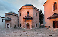 The Mausoleum of Gazi Husrev-beg, 1480-1541, at the Gazi Husrev-beg Mosque, built 1530-32, Sarajevo, Bosnia and Herzegovina. The complex includes a maktab and madrasa (Islamic primary and secondary schools), a bezistan (vaulted marketplace)and a hammam. The mosque was renovated after damage during the 1992 Siege of Sarajevo during the Yugoslav War. Picture by Manuel Cohen