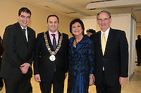 NO FEE PICTURES.25/1/13 Maureen Ledwith, Director Holiday World, Lord Mayor of Dublin is Naoise Ó Muirí with Edmund and Seamus Hourican at the Holiday World Show at the RDS, Dublin. Picture:Arthur Carron/Collins
