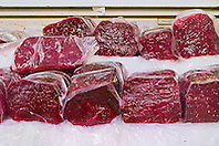 minke whale meat for sale at wholesale shop, Balaenoptera acutorostrata, Tsukiji Fish Market or Tokyo Metropolitan Central Wholesale Market, the world's largest fish market, hadling over 2,500 tons and over 400 different kind of fresh sea food per day