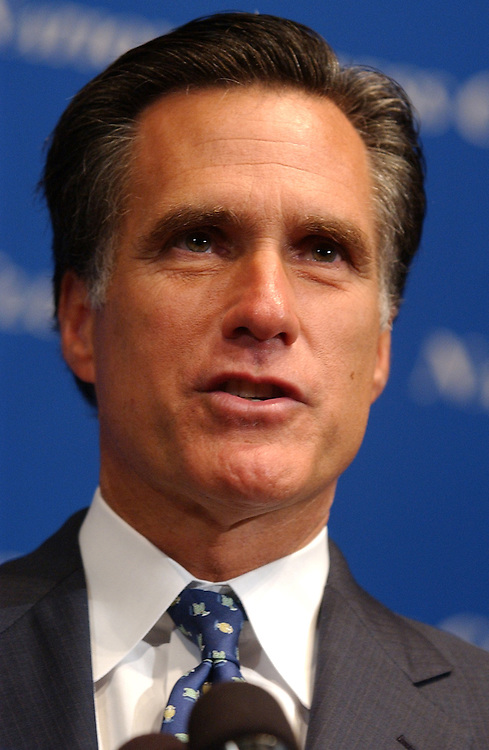 Governor of Massachusetts Mitt Romney speaks at the National Press Club.