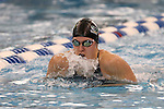18 February 2016: Notre Dame's Alyssa Storino competes in the Women's 200 Individual Medley preliminary Heat 4. The 2016 Atlantic Coast Conference Swimming and Diving Championships were held at the Greensboro Aquatic Center in Greensboro, North Carolina from February 17-27, 2016.