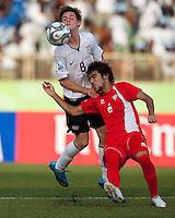 Alex Shinsky battles for the header. US Under-17 Men's National Team defeated United Arab Emirates 1-0 at Gateway International  Stadium in Ijebu-Ode, Nigeria on November 1, 2009.