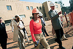 "JOHANNESBURG, SOUTH AFRICA AUGUST 10: Oprah Winfrey inspects the construction on the site of her school ""Oprah Winfrey Leadership Academy for Girls"" located about 40 miles south of Johannesburg in Henley-on-Klip, Meyerton. Oprah visited South Africa to interview girls and to inspect the construction of the school. (Photo by Per-Anders Pettersson)..."