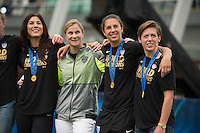 Vancouver - Canada, Sunday, July 6, 2015: The USWNT at Fox Studios in Vancouver after their victory over Japan in the 2015 Women's World Cup.
