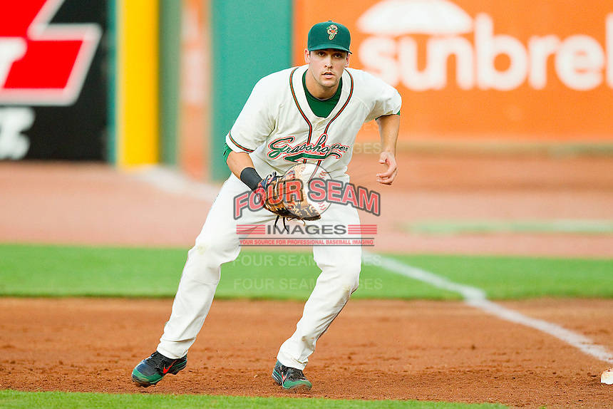 Greensboro Grasshoppers first baseman Ryan Rieger #26 on defense against the Kannapolis Intimidators at NewBridge Bank Park on May 15, 2012 in Greensboro, North Carolina.  The Grasshoppers defeated the Intimidators 11-2.  (Brian Westerholt/Four Seam Images)