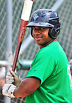 24 July 2010: Vermont Lake Monsters outfielder Kevin Keyes awaits his turn in the batting cage prior to a game against the Lowell Spinners at Centennial Field in Burlington, Vermont. The Lake Monsters fell to the Spinners 11-5 in NY Penn League action. Mandatory Credit: Ed Wolfstein Photo