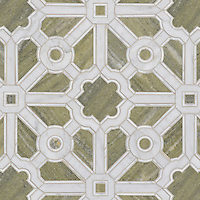 Jardin, a handmade mosaic shown in polished Verde Luna, Calacatta and Carrara. Designed by Sara Baldwin Designs for New Ravenna.<br />