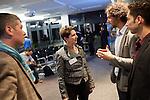 6.10.2013, Berlin, Amano Rooftop Conference Center. High-Tech Forum Berlin. Deidre Berger im Gespräch mit Sergej Tchernik (links) und den Organisatoren Itai Ben Jacob (Mitte) und Elad Leschem (rechts)