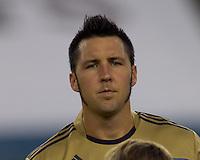 Philadelphia Union defender Danny Califf (4). The Philadelphia Union defeated New England Revolution, 2-1, at Gillette Stadium on August 28, 2010.