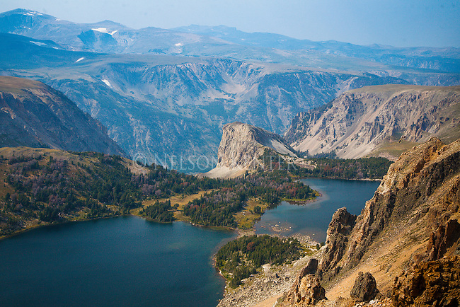 twin lakes and mountains near the beartooth highway along the montana wyoming border