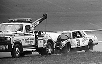 ARCA car on hook wrecker  Motorcraft 500 at Atlanta International Raceway in Hampton, GA on March 16, 1986.   (Photo by Brian Cleary/www.bcpix.com)