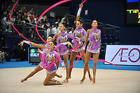 September 13, 2009; Mie, Japan;  Italian rhythmic group performs during ropes + ribbons Event Final after earlier winning gold in group All Around the day before at the 2009 World Championships Mie, Japan. Photo by Tom Theobald.
