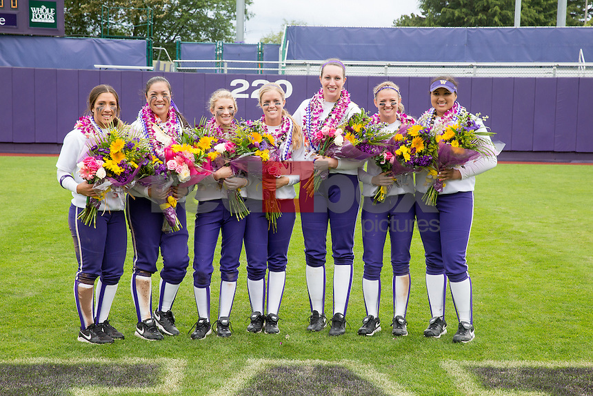 The University of Washington softball team plays Arizona in a double-header on senior day May 4, 2014.(Photo by Scott EklundRed Box Pictures)
