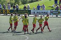 VOETBAL: Leeuwarden: Sportpark Wiarda, 09-09-2012, Zondag 1e klasse F, FVC - LAC Frisia, Eindstand 4-0, vreugde bij FVC-spelers, ©foto Martin de Jong