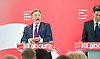 Ed Miliband <br /> leader of the Labour Party <br /> speech at RIBA Royal Institute of British Architecture, London, Great Britain <br /> 29th April 2015 <br /> General Election Campaign 2015 <br /> <br /> <br /> Ed Miliband with Ed Balls <br /> <br /> <br /> Photograph by Elliott Franks <br /> Image licensed to Elliott Franks Photography Services