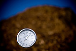The temperature of the compost pile is carefully monitored at Brenner Ranch in Newcastle, CA April 29, 2010.