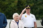 Bob Coombs, D Troop, salutes during a rededication ceremony of the 9th Cavalry Monument at Motts Military Museum during the Gathering of Warriors reunion attended by Vietnam War Veterans of the 1st Squadron, 9th Cavalry, 1st Cavalry Divison.
