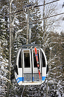 24 February 2008: Northstar gondola with ski's Late winter storm in Lake Tahoe, Truckee Nevada California border in the Sierra Mountains.
