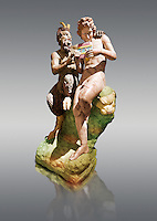 Painted colour verion of 2nd century AD Roman marble sculpture of Pan teaching Daphnis to play the pipes, a Roman copy late 2nd century BC Hellenistic Geek original attributed to Rodes sculptor Heliodoros. Pan's and Daphnis' heads and Daphnis' right arm are restorations.  The Farnese collection, Naples Museum of Archaeology, Italy