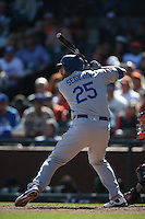 SAN FRANCISCO, CA - OCTOBER 2:  Rob Segedin #25 of the Los Angeles Dodgers bats against the San Francisco Giants during the game at AT&T Park on Sunday, October 2, 2016 in San Francisco, California. Photo by Brad Mangin