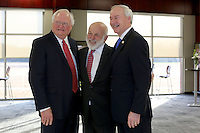 NWA Democrat-Gazette/DAVID GOTTSCHALK   Springdale School Superintendent Jim Rollins (from left), John Tyson, chairman of the board for Tyson Foods, and Governor Asa Hutchinson stand for a photograph Thursday, February 9, 2017, during a dedication ceremony for Springdale's new Don Tyson School of Innovation campus. The school is named after Donald Tyson former chairman and chief executive officer of Tyson Foods. Half of the campus opened in August, with construction wrapping up on the other half in time for this semester.