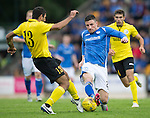 St Johnstone v Alashkert FC...09.07.15   UEFA Europa League Qualifier 2nd Leg<br /> Michael O'Halloran is tackled by Gevorg Poghoshyan<br /> Picture by Graeme Hart.<br /> Copyright Perthshire Picture Agency<br /> Tel: 01738 623350  Mobile: 07990 594431