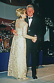 United States President Bill Clinton and first lady Hillary Rodham Clinton dance at one of the inaugural balls as they celebrate the start of the President's second four year term in office in Washington, DC on January 20, 1997.<br /> Credit: Brad Markel / Pool via CNP