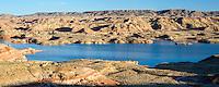 Badlands and lake int he Bighorn Basin
