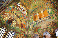 Byzantine Roman mosaics of the Apse of the Basilica of San Vitale in Ravenna, Italy. Mosaic decoration paid for by Emperor Justinian I in 547. A UNESCO World Heritage Site