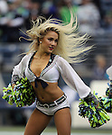 Seattle Seahawks dance team, the Seagals, perform before their game against the Carolina Panthers  at CenturyLink Field in Seattle, Washington on October 18, 2015. The Panthers came from behind with 32 seconds remaining in the 4th Quarter to beat the Seahawks 27-23.    ©2015 Jim Bryant Photography. All Rights Reserved.
