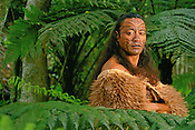 Maori man in kiwi cloak with facial tattoos, Rotorua, New Zealand