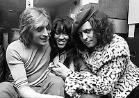 Mick Ronson with Gloria Jones and Marc Bolan in 1974. Credit: Ian Dickson/MediaPunch