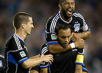 Ramiro Corrales of Earthquakes celebrates with teammates after Corrales scored a goal during the second half of the game against Chivas USA at Buck Shaw Stadium in Santa Clara, California on September 2nd, 2012.   San Jose Earthquakes defeated Chivas USA, 4-0.