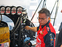 Apr 21, 2017; Baytown, TX, USA; Todd Okuhara crew chief for NHRA top fuel driver Leah Pritchett during qualifying for the Springnationals at Royal Purple Raceway. Mandatory Credit: Mark J. Rebilas-USA TODAY Sports