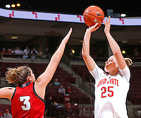 Ohio State Buckeyes guard Amy Scullion (25) puts up a shot past Nebraska Cornhuskers forward Hailie Sample (3) in second half action at Value City Arena on February 20,  2014. (Chris Russell/Dispatch Photo)